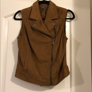 Express suede moto vest size small